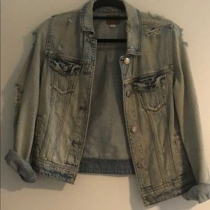 American Eagle Distressed Denim Jacket Medium